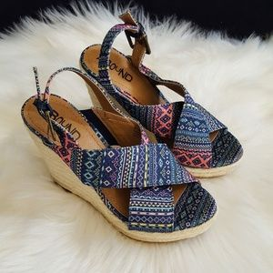 Abound Wedge Sandals Multi Color Aztec like